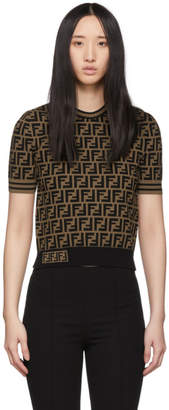 Fendi Black and Brown Knit Forever T-Shirt