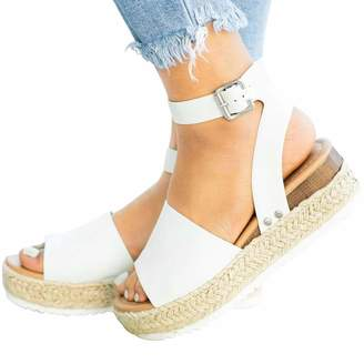 bec5cfccab10 Vimisaoi Women s Summer Chunky Platform Footbed Wedges Strappy Espadrille  Sandals