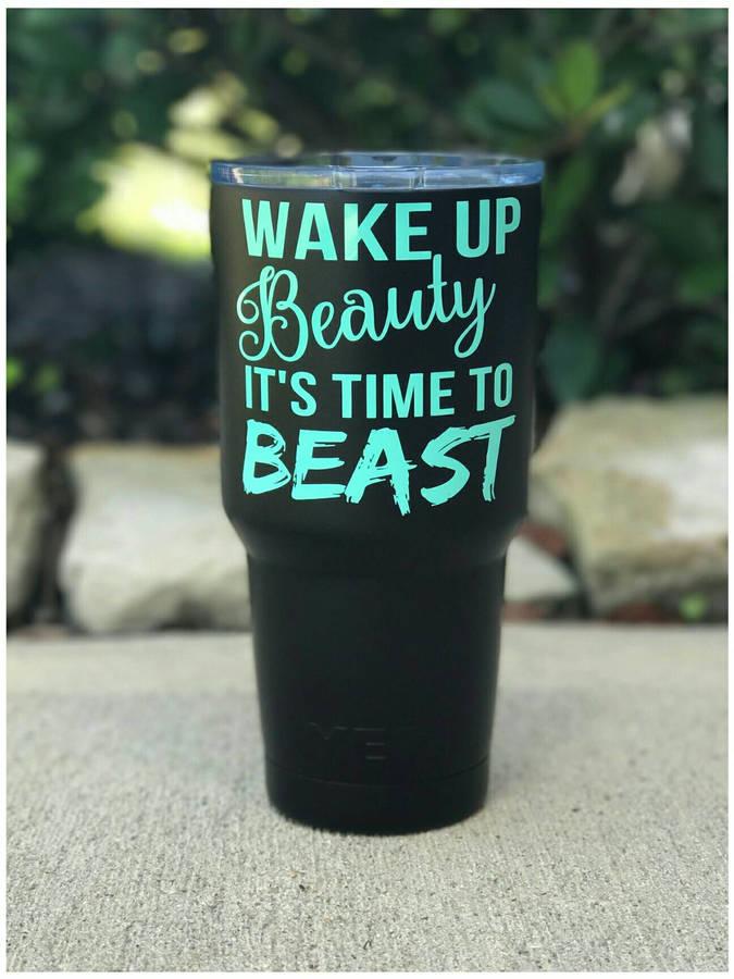 Etsy YETI - Wake Up Beauty Gym Motivation Yeti Cup Mug 20 oz 30 oz Rambler Tumbler Rise and Grind Crossfi
