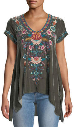 Johnny Was Delphine Short-Sleeve Embroidered Velvet Top, Plus Size
