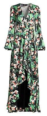 PatBO Women's Floral High-Low Wrap Dress