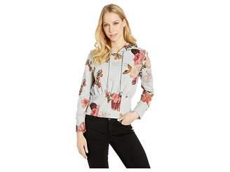 Bebe Modern Crop Lace Detail Hoodie Women's Sweatshirt