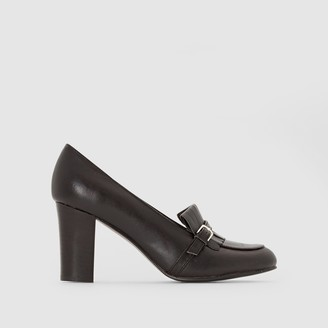 Anne Weyburn Heeled Leather Loafers