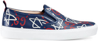 GucciGhost print leather slip-on sneaker $580 thestylecure.com