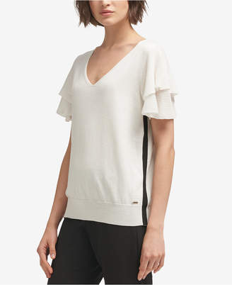 DKNY Cotton Side-Stripe Ruffled Top, Created for Macy's