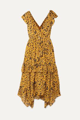 Ulla Johnson Dania Ruffled Floral-print Silk, Cotton And Lurex-blend Midi Dress - Yellow