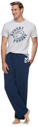 Cuddl Duds Men's Jammies For Your Families Sunday Funday Top & Bottoms Pajama Set