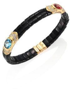 Marina B Yves Diamond, Black Jade, Pink Tourmaline, Blue Topaz & 18K Yellow Gold Bangle Bracelet