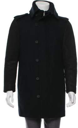 Wooyoungmi Leather-Accented Wool Coat