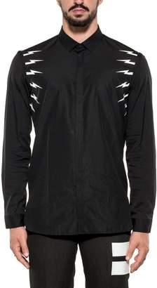 Neil Barrett Black Thunderbolts Cotton Poplin Shirt