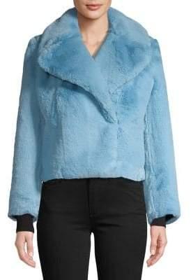 Diane von Furstenberg Oversized-Collar Faux Fur Jacket