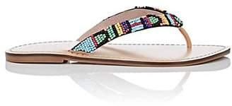 Barneys New York WOMEN'S BEADED LEATHER THONG SANDALS SIZE 6