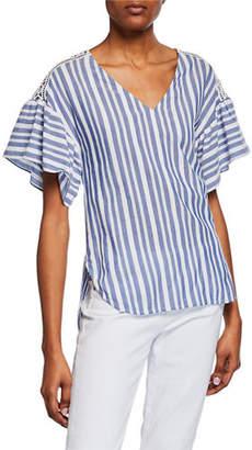MICHAEL Michael Kors Summer Textured Striped V-Neck Ruffle-Sleeve Top