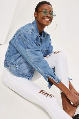 Topshop Womens White Ripped Jamie Jeans - White