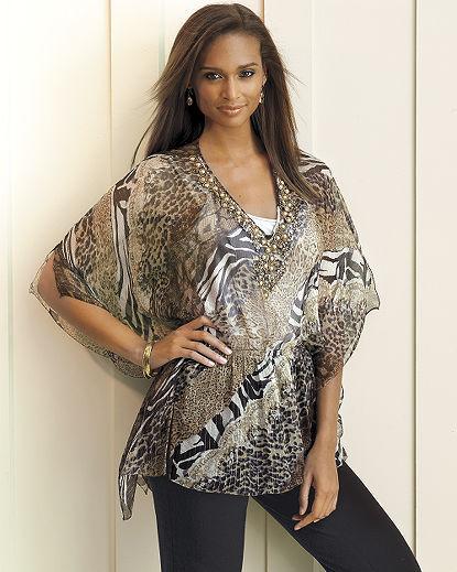 Animal-Print Silk Georgette Tunic