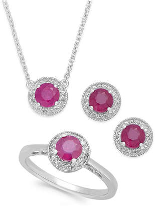 Macy's Gemstone (2 ct. t.w.) and White Topaz (1/2 ct. t.w.) Jewelry Set in Sterling Silver