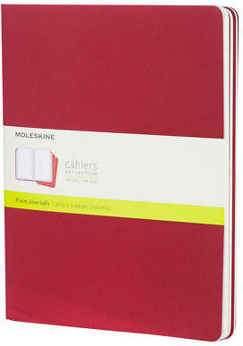 Moleskine NEW Cahier Extra Large Red Plain Notebook Set 3pce