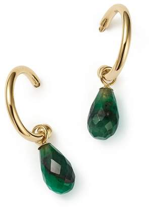 Bloomingdale's Emerald Briolette Hoop Drop Earrings in 14K Yellow Gold - 100% Exclusive