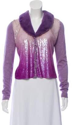 Blumarine Fur-Trimmed Sequined Cardigan Purple Fur-Trimmed Sequined Cardigan