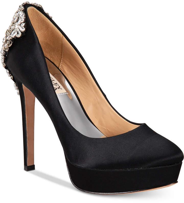 Badgley Mischka Viola Embellished Platform Evening Pumps Women's Shoes