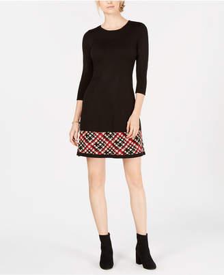 Jessica Howard Petite Plaid-Hem Sweater Dress