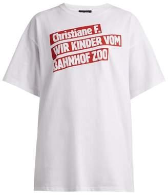 Raf Simons Christiane F. Film Title Print T Shirt - Womens - White Print