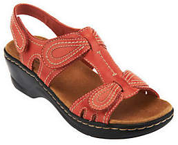 Clarks Leather Sandals w/ Adjustability -Lexi Walnut