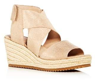 Eileen Fisher Women's Willow Nubuck Leather Platform Espadrille Sandals