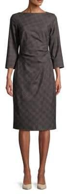 Max Mara Long Sleeve Plaid Sheath Dress