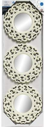 Mainstays 3-Piece Carved Scroll Mirror Set, Distressed White