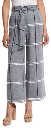 Suno Cropped Plaid Wide-Leg Pants, Chambray $650 thestylecure.com