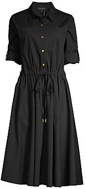 Donna Karan Women's Roll-Sleeve Fit-&-Flare Shirtdress