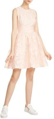 Maje Rexrose Floral Applique Fit & Flare Dress