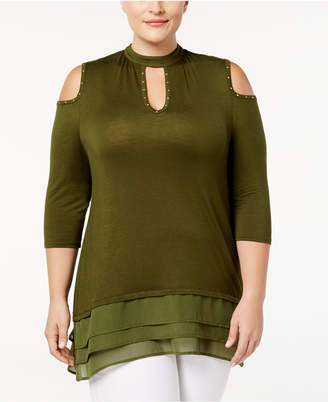 Belldini Plus Size Cutout Mock-Neck Tunic
