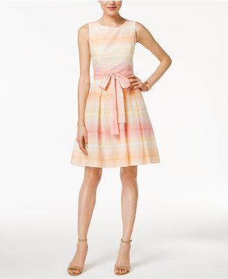 Tommy Hilfiger Ombré-Stripe Fit & Flare Dress $129 thestylecure.com