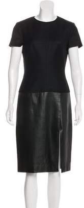 Alexander McQueen Leather-Paneled Virgin Wool Dress