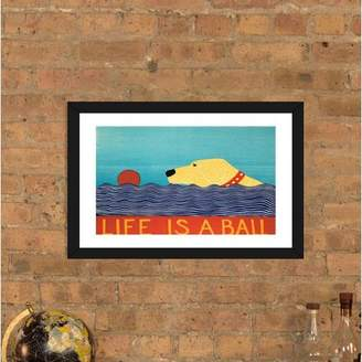 East Urban Home 'Life is a Ball Yell' by Stephen Huneck Graphic Art Print Format: Black Frame,