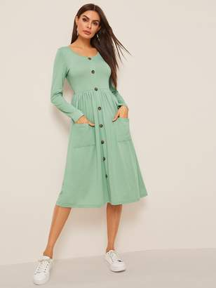 Shein Button Up Patch Pocket Detail Fit & Flare Dress