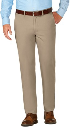 Haggar Mens J.M. Luxury Comfort Premium Flex-Waist Slim-Fit 4-Way Stretch Flat-Front Casual Pants