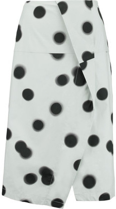 Marc by Marc Jacobs Draped Polka-Dot Cotton-Blend Midi Skirt