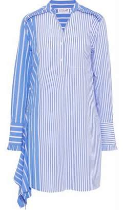 Derek Lam 10 Crosby Asymmetric Striped Cotton-Poplin Mini Shirt Dress