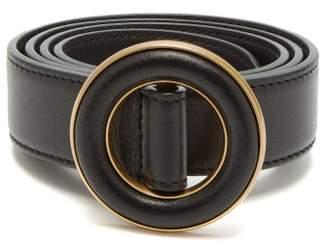 Saint Laurent Round Buckled Leather Belt - Womens - Black