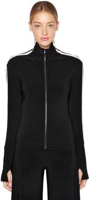Norma Kamali Side Bands Stretch Jersey Track Jacket
