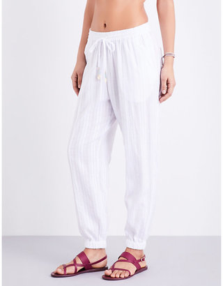 Seafolly Tapered washed dobby stripe cotton trousers $65 thestylecure.com