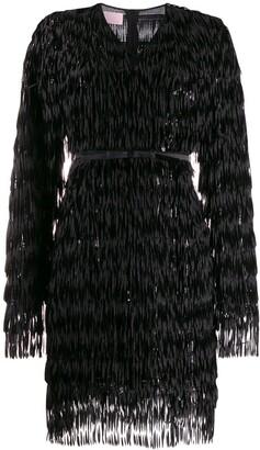 Giamba V-neck feather embellished dress