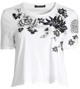Josie Natori Embroidered Stretch Cotton T-Shirt