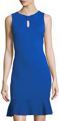 Taylor Ponte Keyhole Flounce-Hem Dress