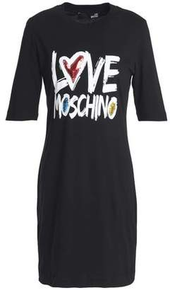 Love Moschino Embellished Printed Cotton-Jersey Mini Dress