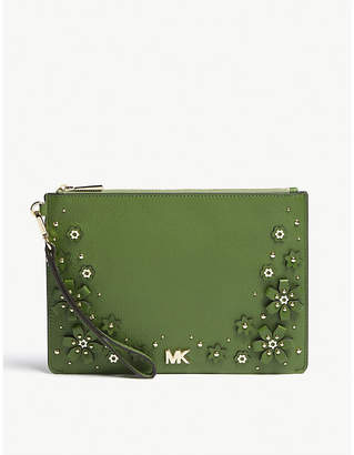 MICHAEL Michael Kors Michael Kors True Green Floral Embellished Leather Zipped Pouch