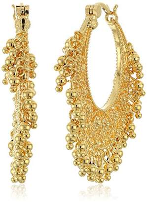 18k Gold Plated Bronze Indian Ethnic Chand Bali Hoop Earrings